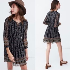 Madewell Peasant Dress with Lace Up Neck - Size 4